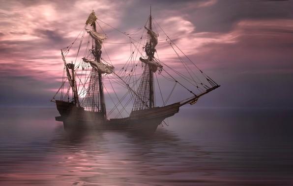 Picture sea, ship, sailboat, frigate