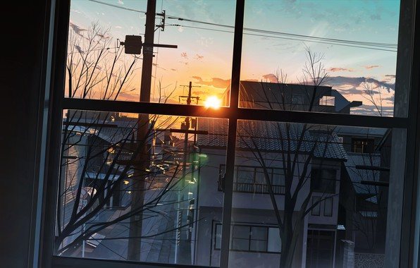 Picture the sun, sunset, street, the view from the window