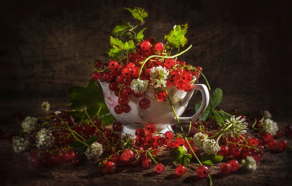 Picture berries, Cup, clover, bunches, red currant, Vladimir Volodin