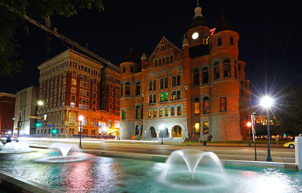 Picture road, night, lights, the building, home, lights, USA, Museum, fountains, Dallas, Old Red Museum