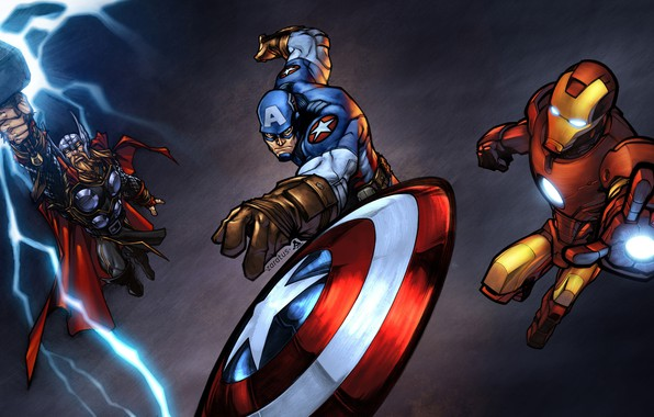 Picture fiction, art, characters, Iron Man, comic, costumes, Captain America, superheroes, Thor, MARVEL, Ander Zarate