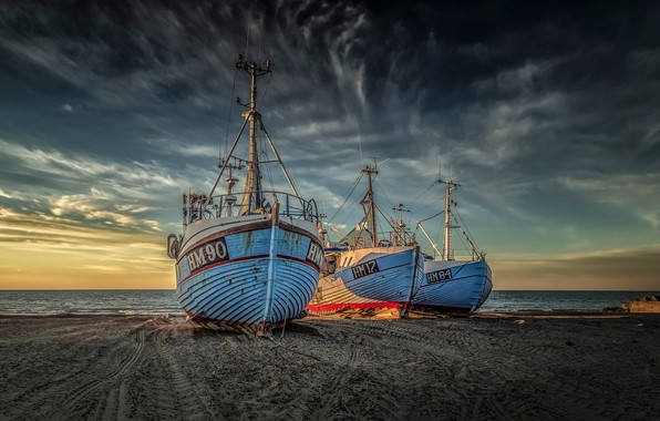 Picture sand, sea, beach, the sky, clouds, dawn, coast, Denmark, horizon, ship