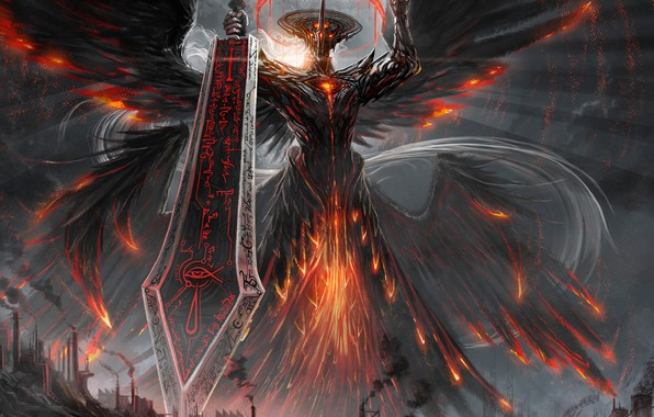 Picture the city, weapons, the demon, fantasy, art, lava