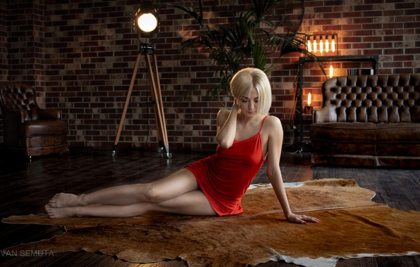 Picture pose, lamp, sofa, wall, model, portrait, chair, makeup, figure, dress, hairstyle, blonde, skin, legs, sitting, …
