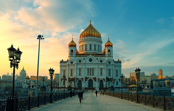 Picture Road, Bridge, Moscow, The Cathedral Of Christ The Savior