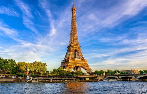 Picture summer, Eiffel tower, Paris.
