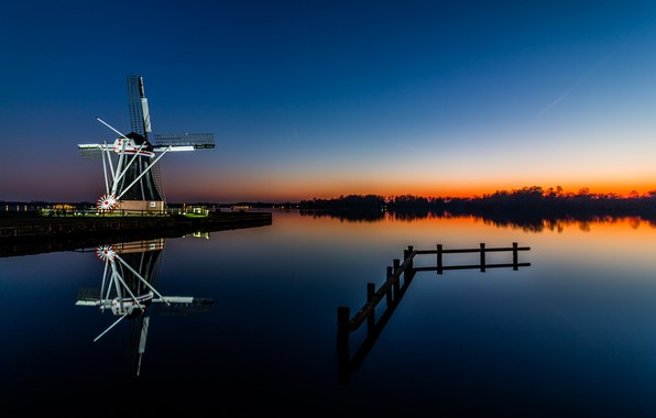 Picture the evening, backlight, mill, channel, Netherlands, Holland