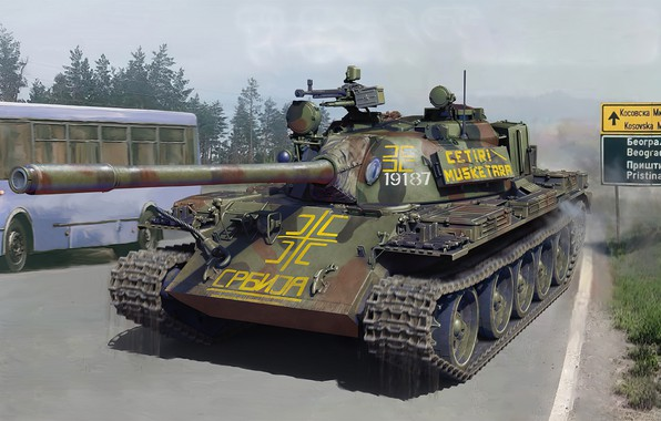 Picture war, art, painting, tank, t55