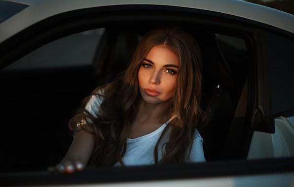 Picture car, girl, Model, green eyes, long hair, brown hair, photo, lips, face, brunette, t-shirt, portrait, …