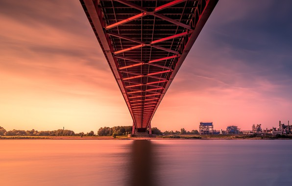 Picture sunset, bridge, river, Rhine bridge Emmerich