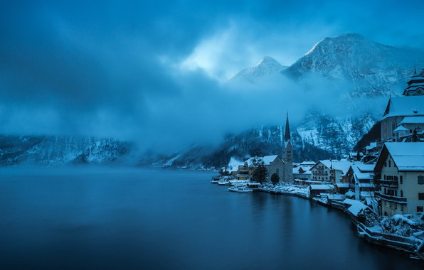 Picture winter, forest, the sky, clouds, snow, trees, mountains, blue, the city, fog, lake, blue, blue, ...