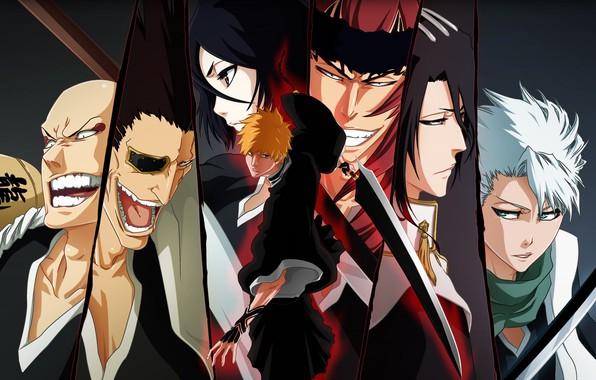 Picture emotions, sword, face, Bleach, Bleach, Ichigo Kurosaki, grin, Ichigo Kurosaki, characters, Kuchiki Rukia, eye patch, …
