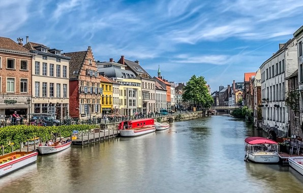 Picture river, building, home, boats, Belgium, promenade, Belgium, Ghent, Ghent, The River Leie, Leie River