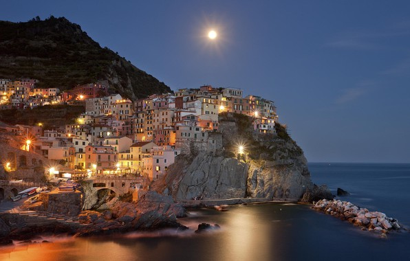 Picture sea, water, mountains, night, the moon, Italy, moon, sea, Italy, water, night, mountain, Italia, town, …