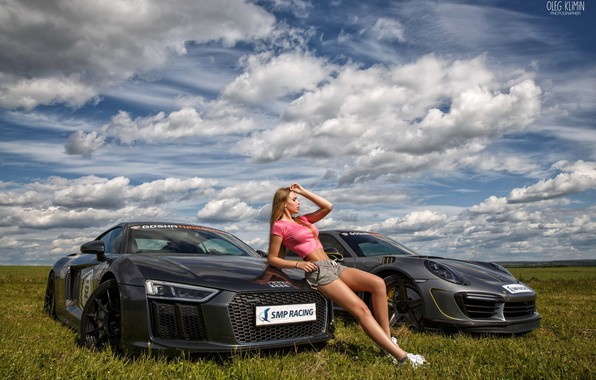 Picture field, the sky, grass, the sun, clouds, landscape, model, shorts, makeup, Mike, figure, horizon, hairstyle, …