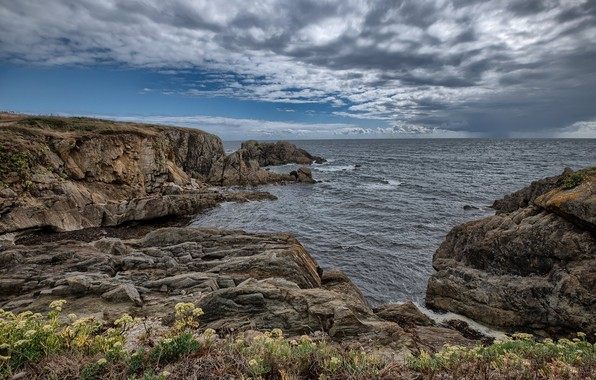 Picture rocks, coast, France, Brittany