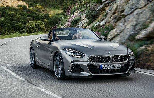 Picture road, stones, grey, markup, vegetation, BMW, slope, Roadster, BMW Z4, M40i, Z4, 2019, G29
