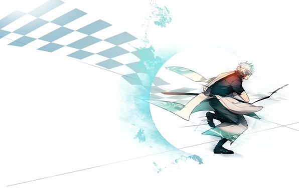 Picture sword, white background, guy, attacks, Gintama, Sakata Gintoki, Gintama, chess square, Гинтоки You Want