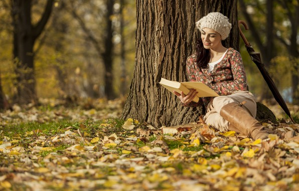 Picture autumn, girl, Park, foliage, umbrella, book, bokeh