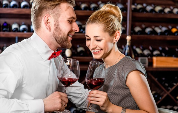Picture girl, smile, wine, romance, pair, male, lovers
