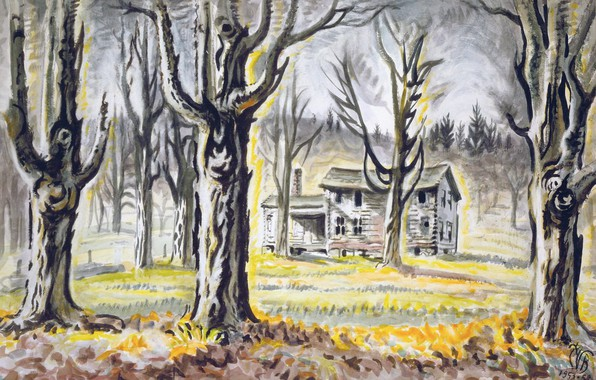 Picture Charles Ephraim Burchfield, 1953-58, Old Far House and Maple Trees