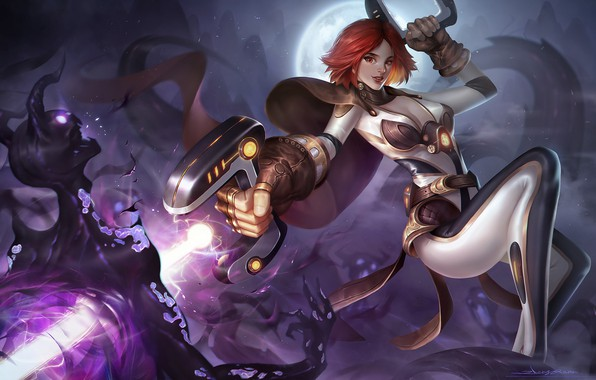 Picture look, girl, pose, weapons, fiction, the moon, monster, art, costume, art, sci-fi
