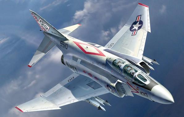 Picture USA, fighter-bomber, fighter-interceptor, multi-role fighter, McDonnell Douglas, F-4 Phantom, US NAVY, Auletta, advanced deck, USN …