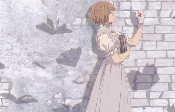 Picture letter, books, glasses, brick wall, in profile, violet evergarden, by Akiko Takase, Erica Borwn