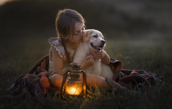 Picture lamp, Girl, puppy