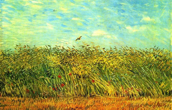 Picture the sky, flowers, bird, ears, Vincent van Gogh, Wheat Field with a Lark