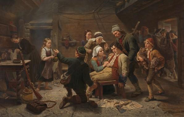 Picture Norwegian, 1862, Oslo, Oslo, Norwegian artist, oil on canvas, Adolf Tidemand, Norwegian romantic nationalism painter, …