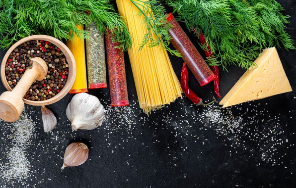 Picture greens, the dark background, table, food, cheese, dill, jars, pepper, spaghetti, spices, spices, garlic, mortar, …