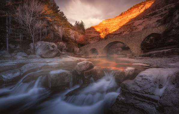 Picture autumn, light, trees, bridge, nature, stones, rocks, waterfall, stream, the evening, channel, arch, old, arch, …
