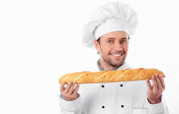 Picture smile, cook, male, cap, baton