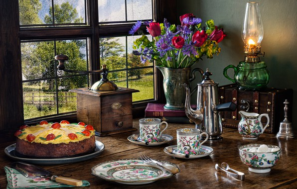 Picture flowers, style, lamp, bouquet, window, plate, Cup, cake, pitcher, still life, chest, coffee grinder, coffee …