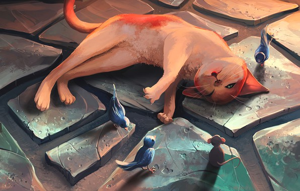 Picture wallpaper, bird, cat, art, painting, funny, digital art, mouse, rest, 4k ultra hd background