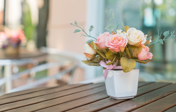 Picture flowers, style, roses, bouquet, vase, artificial
