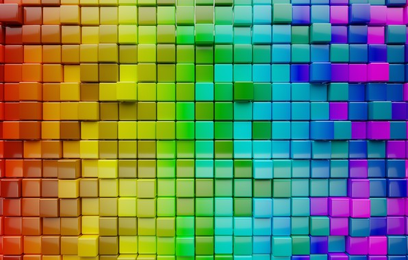 Picture colors, colorful, abstract, Cubes, minimalism, textures, digital art, artwork, CGI