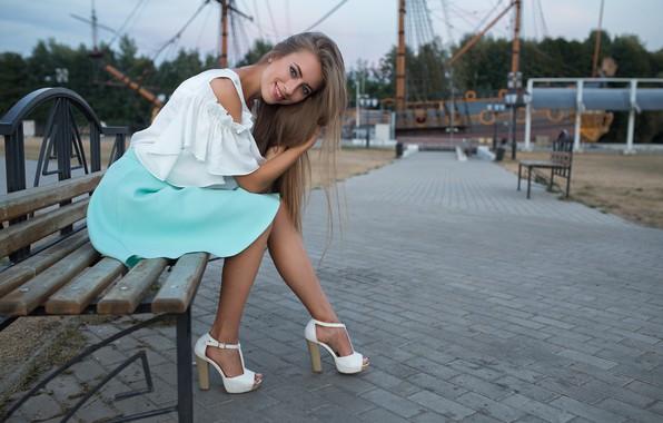 Picture girl, smile, skirt, Victoria, sitting, Dmitry Sn, Dmitry Shulgin