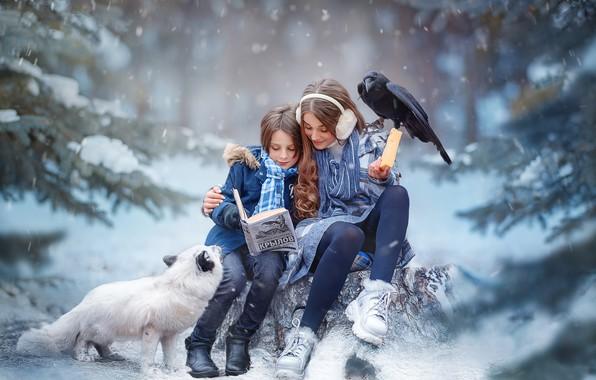 Picture winter, forest, children, boy, cheese, girl, book, Raven, Fox, Fox, Yaroslav Gromov, Басни Крылова