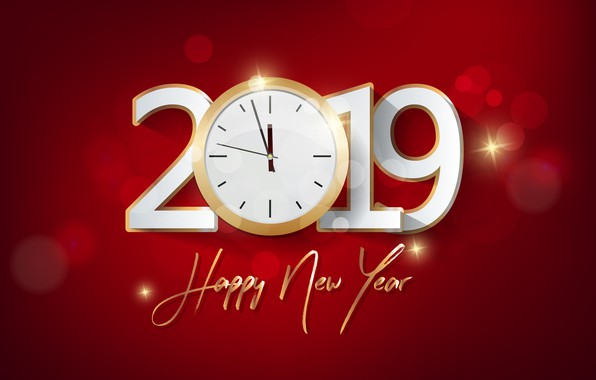 Picture background, New Year, figures, red, new year, background, Happy, 2019