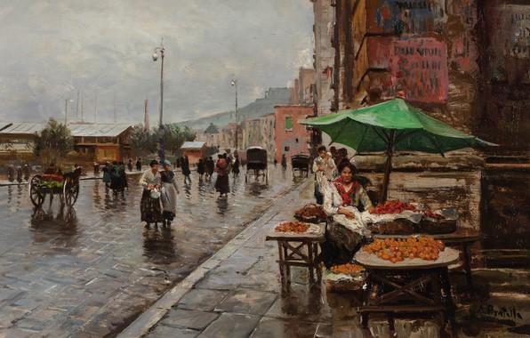 Picture Napoli, Naples, Naples, Italian painter, Italian painter, oil on canvas, the way of the Market, …