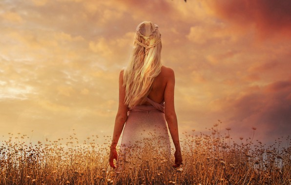 Picture field, the sky, clouds, sunset, flowers, hair, back, plants, figure, dress, actress, meadow, art, hairstyle, …