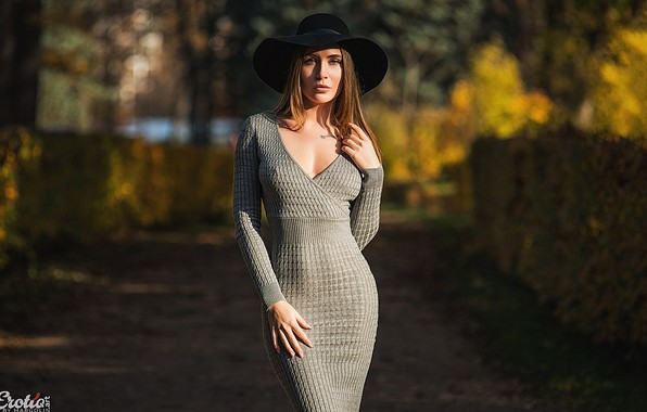 Picture autumn, look, the sun, sexy, pose, Park, model, portrait, hat, makeup, figure, dress, hairstyle, brown …