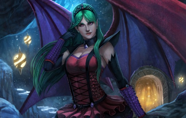 Picture girl, wings, the demon, fantasy, art