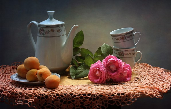 Picture flowers, table, roses, kettle, plate, Cup, fruit, still life, tablecloth, apricots