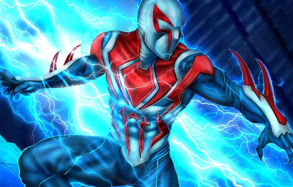 Picture future, spider-man, zipper, future, costume, Miguel O'hara, spider-man 2099