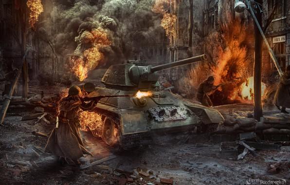 Picture fire, war, USSR, tank, war, ussr, Pavel Bondarenko, Stalingrad, Battle of Stalingrad