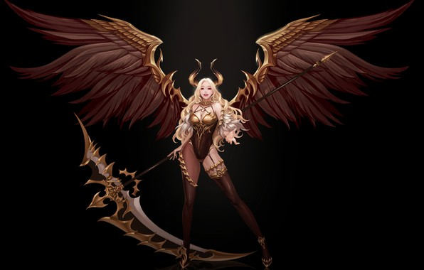 Picture pose, smile, wings, fantasy, art, horns, black background, demoness