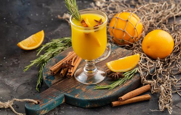 Photo wallpaper orange, juice, citrus, cinnamon